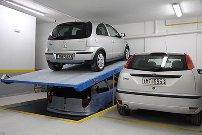 Two-level mechanical parking system for 2 (4) cars with incline 13Y2ASN (13Y4ASN)